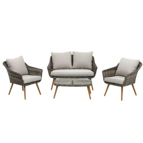 jardin exterieur tendance 2021 confort salon 2 fauteuils un canapé table basse pas cher