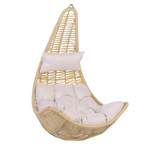 jardin exterieur tendance 2021 confort fauteuil suspendu rotin forme goute gros coussin