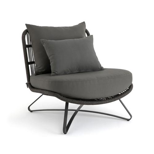 jardin tendance confort 2021 fauteuil extérieur gros coussin structure métallique cosy couleur grise neutre