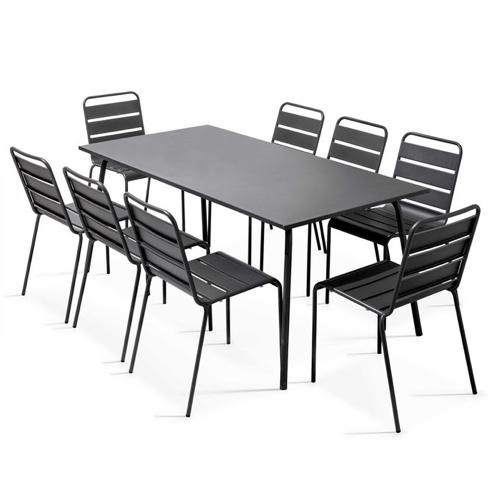 jardin tendance confort 2021 table extérieur en métal grande 8 couverts + 8 chaises assorties couleur noire