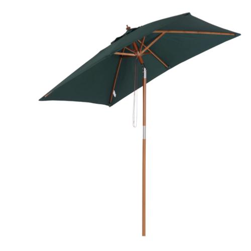 jardin terrasse accessoire decoration parasol inclinable toile couleur vert structure bois