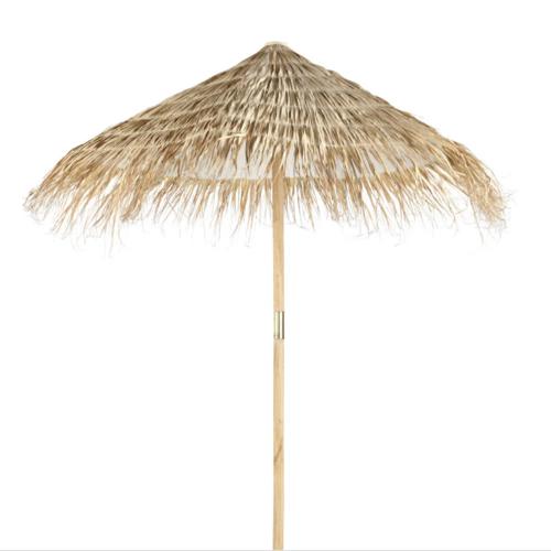 jardin terrasse accessoire decoration parasol en paille style vacances plage