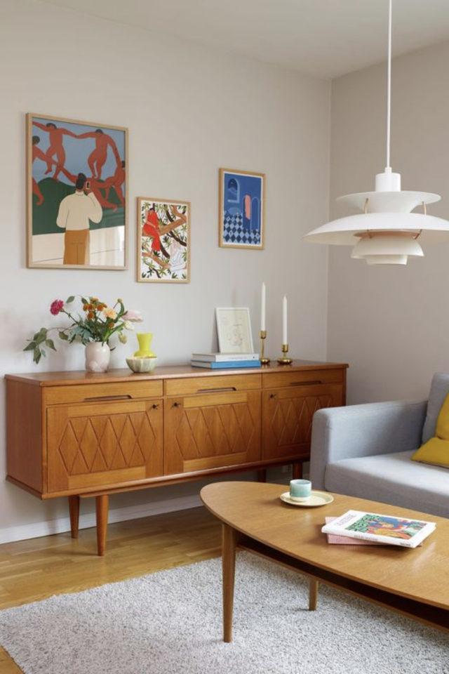 meuble annees 50 salon exemple buffet enfilade bois porte authentique