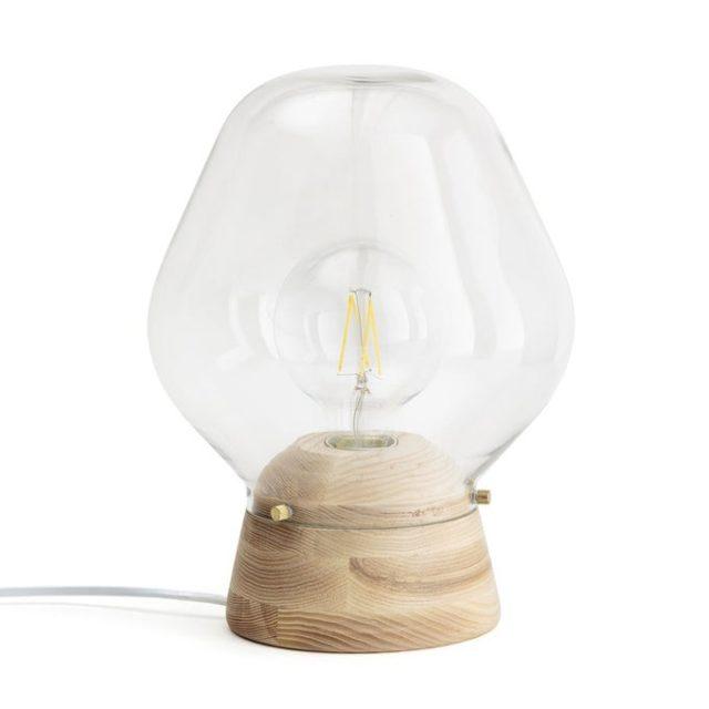 meuble deco minimaliste et chaleureux petite lampe à poser bois et verre