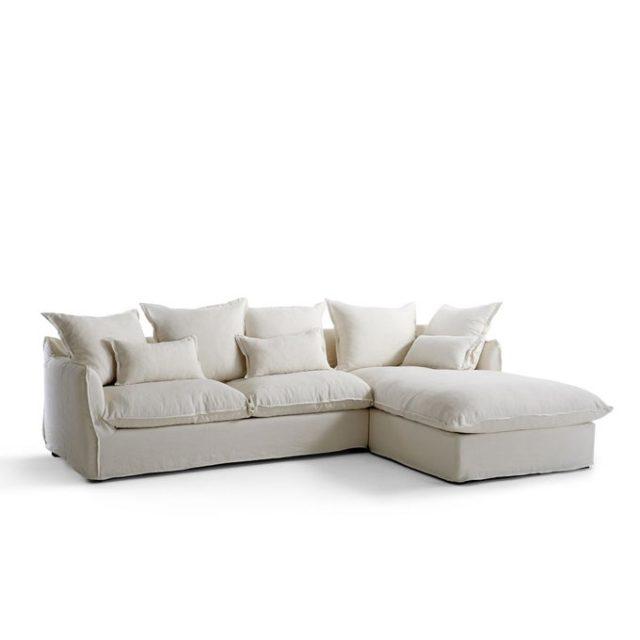 meuble deco minimaliste et chaleureux canapé angle confortable couleur neutre coussins