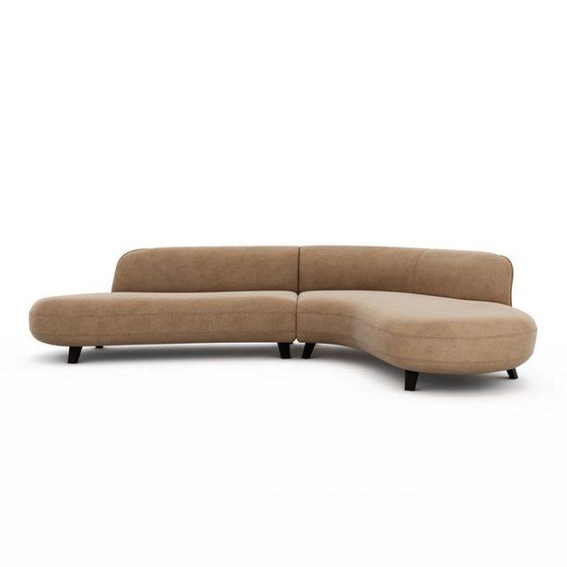 meuble deco minimaliste et chaleureux canapé d'angle moderne arrondi couleur neutre design