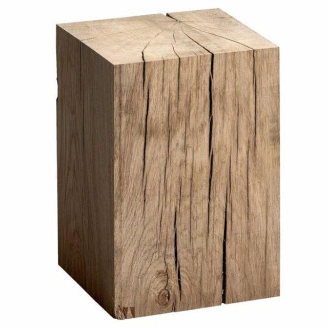 meuble deco minimaliste et chaleureux bout de canapé forme rectangulaire arbre massif