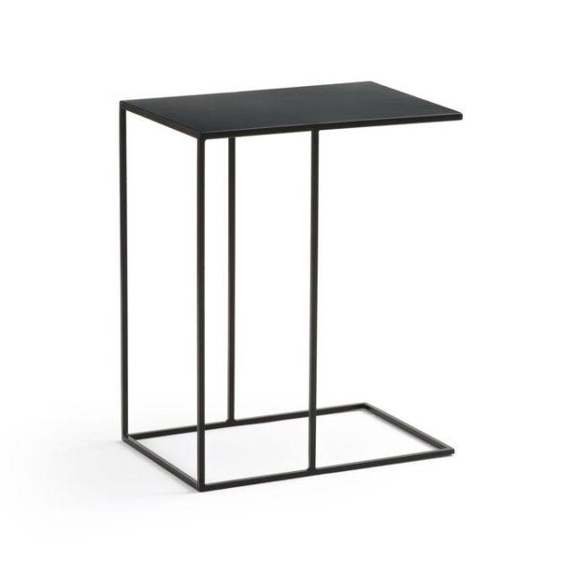 meuble deco minimaliste et chaleureux bout de canapé tablette métal noir