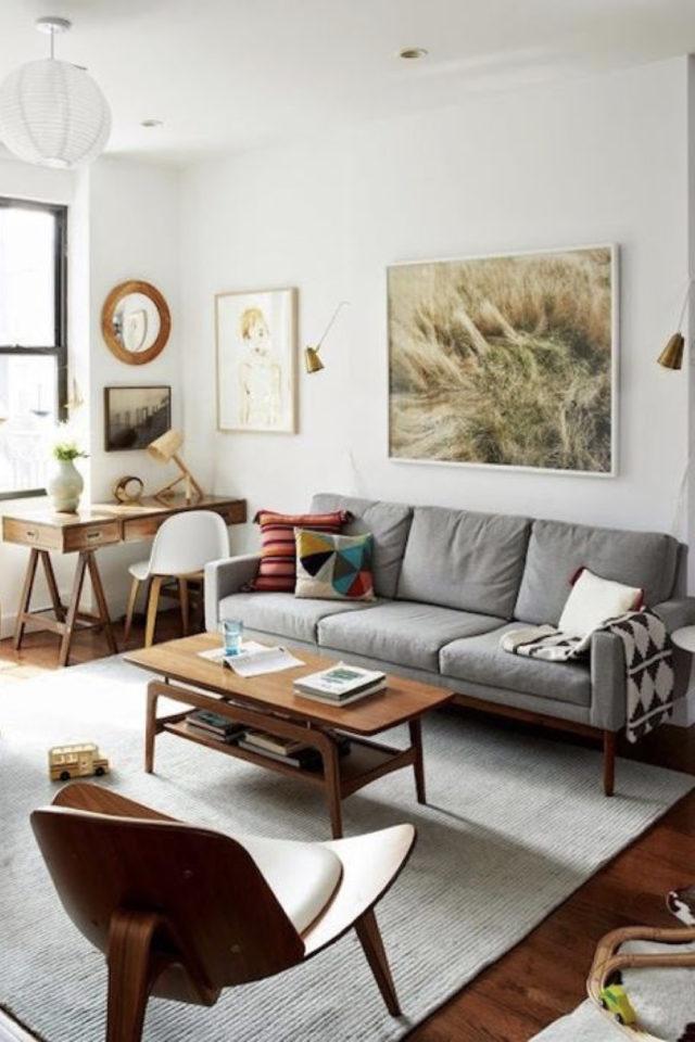 meuble salon style vintage exemple canapé gris table basse bois mid century petit bureau