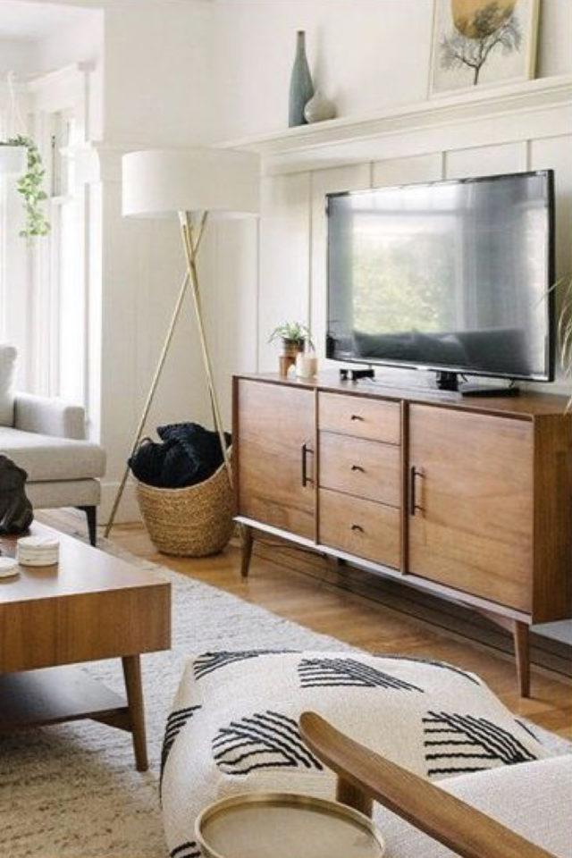 meuble salon style vintage exemple meuble télévision bois enfilade portes et tiroir