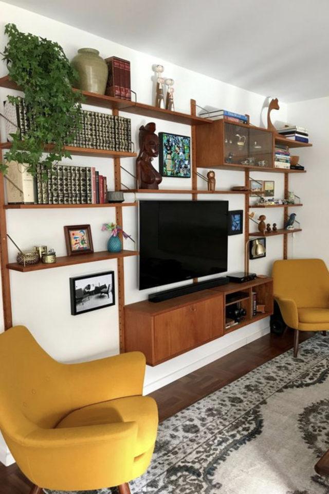 meuble salon style vintage exemple meuble mural bibliothèque TV mid century modern