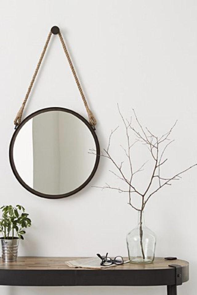 miroir rond suspendu idee decoration élégant nature simple épuré