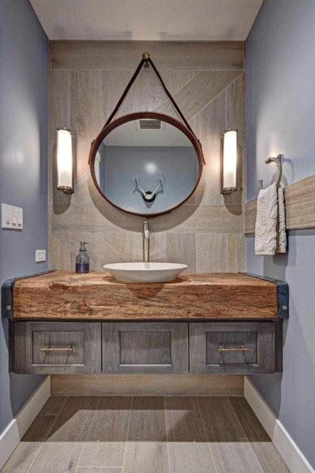 miroir rond suspendu idee decoration salle de bain meuble vasque