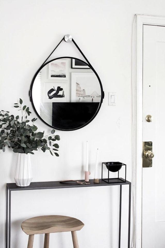miroir rond suspendu idee decoration entrée console blanc et noir moderne et minimale