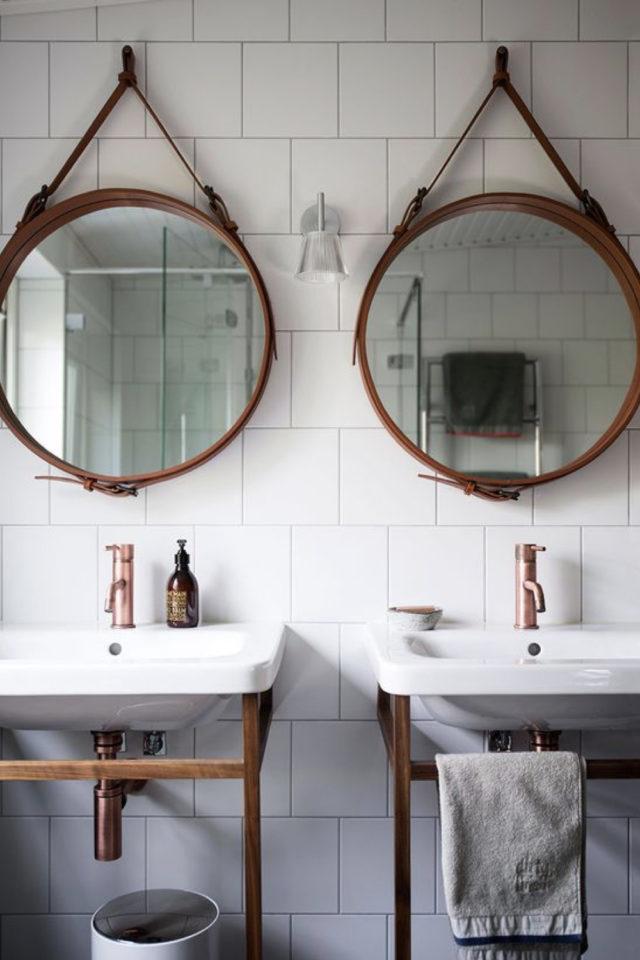 miroir rond suspendu idee decoration double vasque salle de bain symétrie