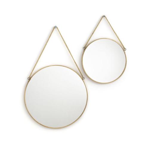 miroir rond tendance la redoute laiton avec chainette
