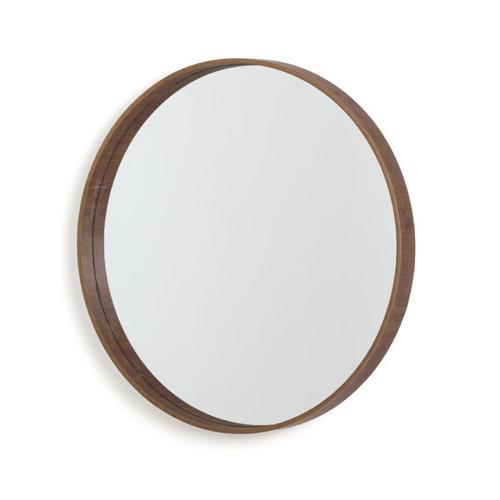 miroir rond tendance la redoute en noyer