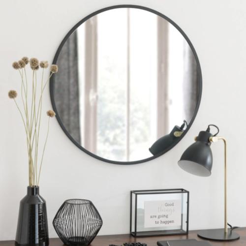 miroir rond tendance maisons du monde encadrement bord noir