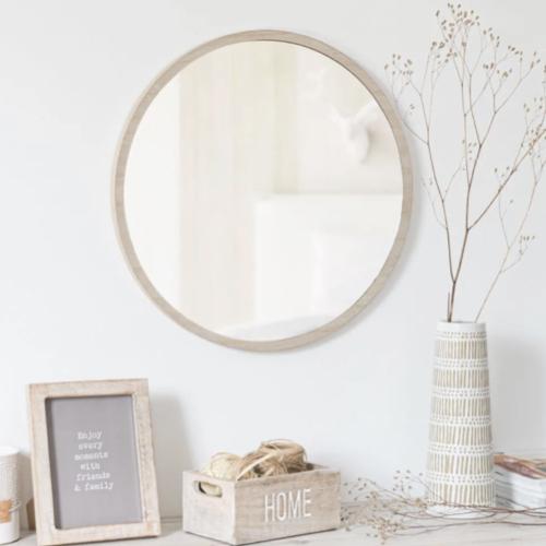 miroir rond tendance maisons du monde encadrement bois clair slow