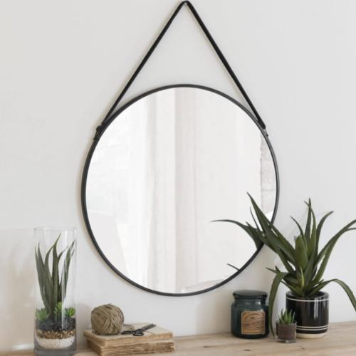 miroir rond tendance maisons du monde avec sangle accroche noire