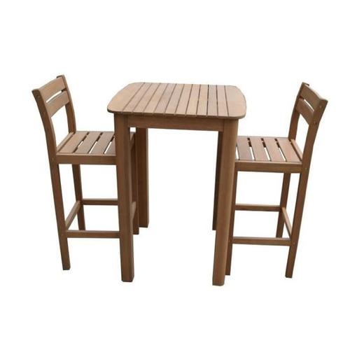 mobilier jardin pas cher bois table haute avec 2 chaises / tabourets hauts