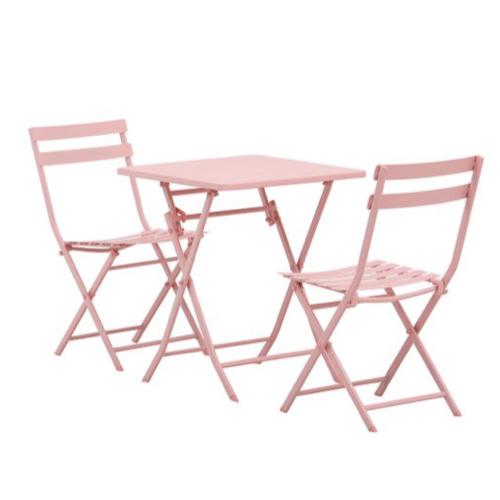 mobilier jardin pas cher table métal carrée chaises bistrot rose