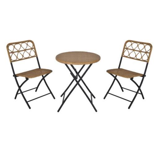 mobilier jardin pas cher salon style rotin chaise et table ronde