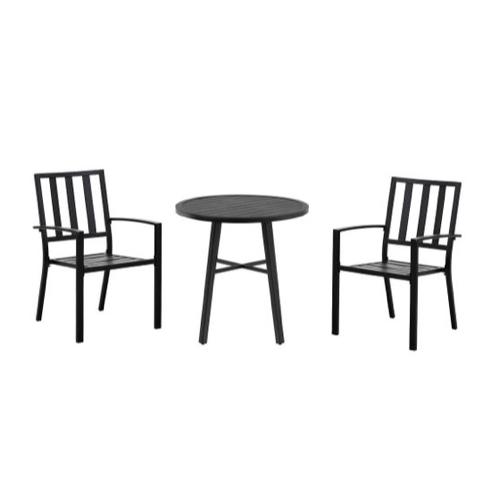 mobilier jardin pas cher chaises et table ronde noir moderne