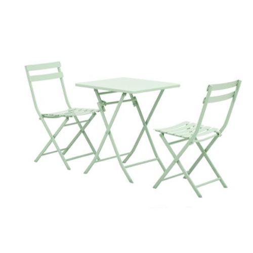 mobilier jardin pas cher petite table pliante verte amande 2 chaises