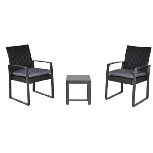 mobilier jardin pas cher salon extérieur noir gris foncé avec petite table basse carrée et 2 fauteuils