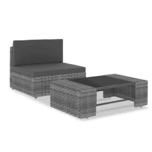 mobilier jardin pas cher une personne résine tressée grand fauteuil et table basse
