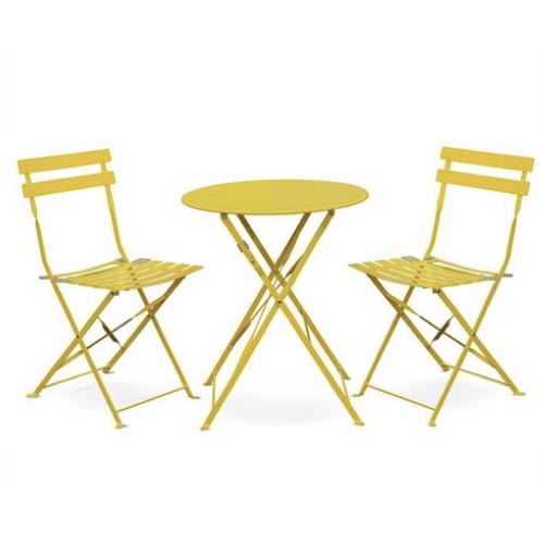 mobilier jardin pas cher style bistrot métal jaune table ronde