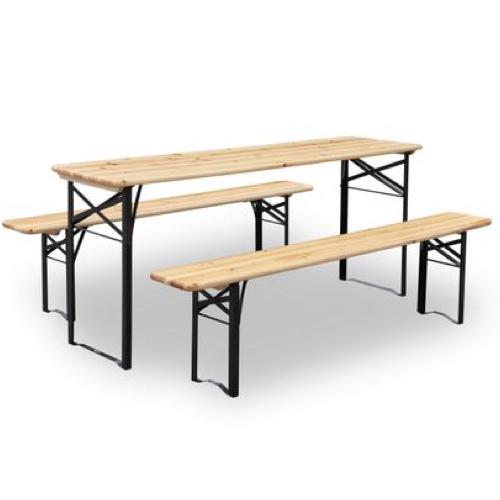 mobilier jardin pas cher grande table bois et métal avec 2 bancs