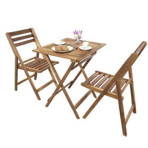 mobilier jardin pas cher table pliante en bois carrée avec 2 chaises