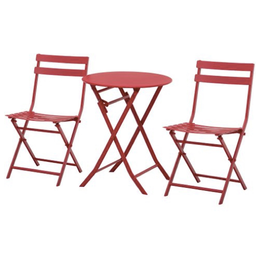 mobilier jardin pas cher table ronde metal 2 chaises couleur rouge