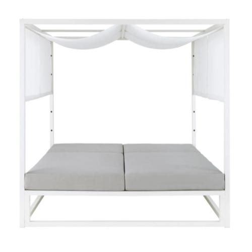 mobilier jardin sieste confortable bain de soleil double avec baldaquin