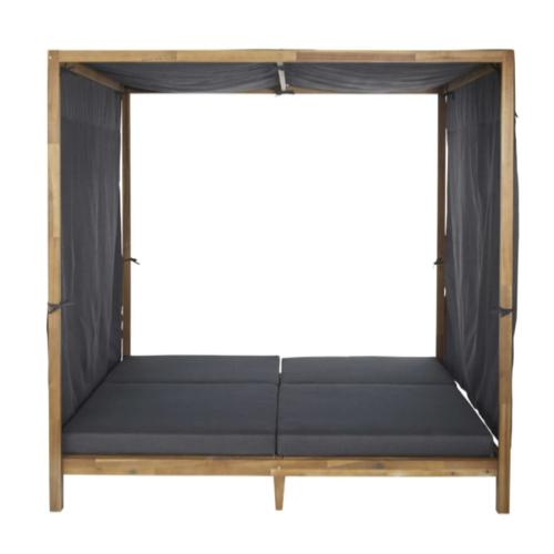 mobilier jardin sieste confortable bain de soleil double avec baldaquin gris et bois