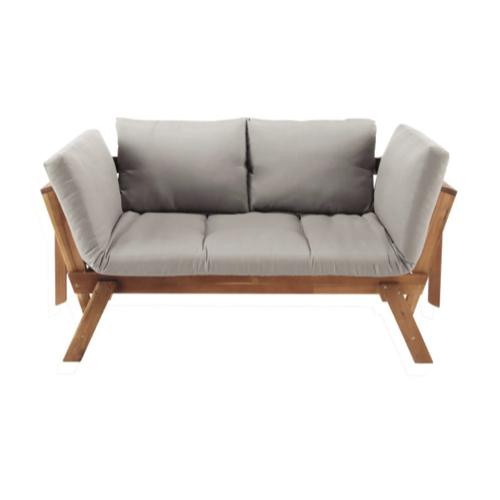 mobilier jardin sieste confortable banquette modulable bois et coussin gris