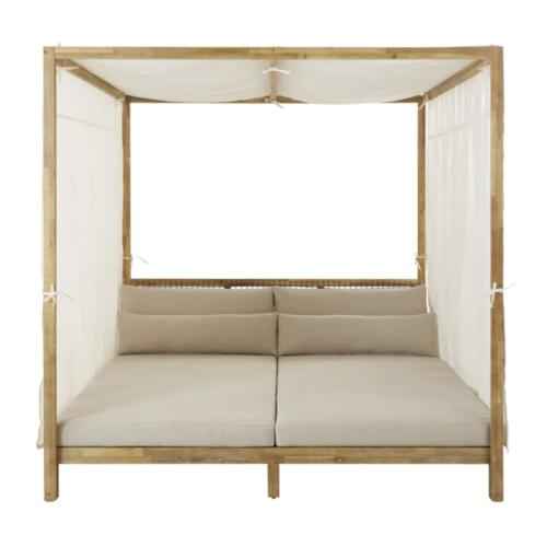 mobilier jardin sieste confortable daybed extérieur bain de soleil avec toile