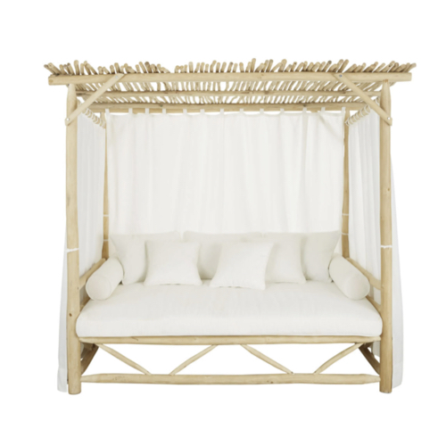 mobilier jardin sieste confortable daybed style plage bois et coussin blanc