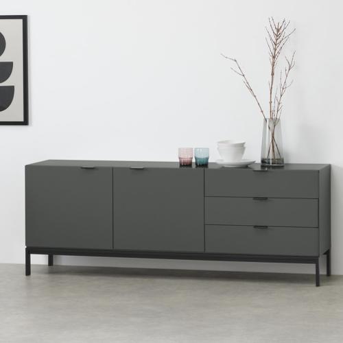 mobilier salle a manger style masculin enfilade porte et tiroir grise épurée