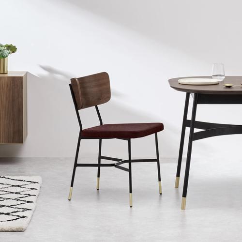 mobilier salle a manger style masculin chaise design vintage élégant métal et tissus
