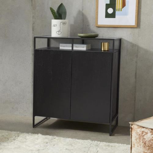 mobilier salle a manger style masculin bahut sombre noir simple épuré