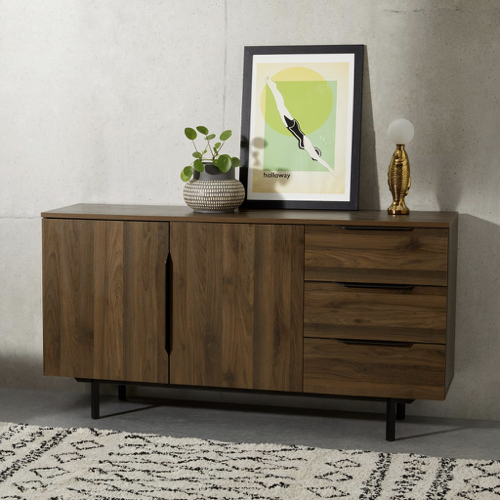 mobilier salle a manger style masculin petit bahut 2 partes 3 tiroirs en bois sombre