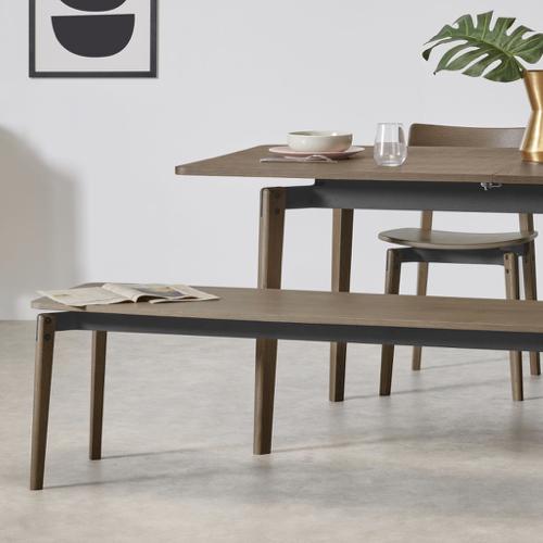 mobilier salle a manger style masculin banc en bois sombre design épuré
