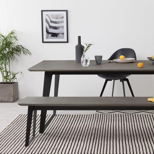 mobilier salle a manger style masculin banc noir et gris résine