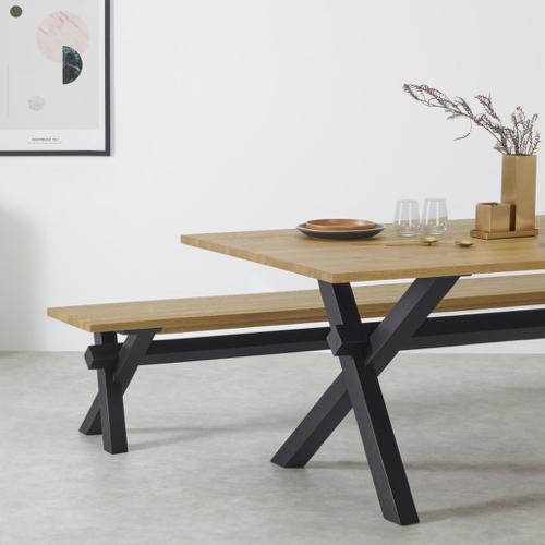 mobilier salle a manger style masculin banc 5 personnes bois et pieds noirs simple