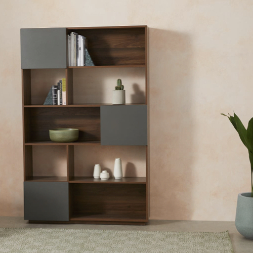 ou trouver bibliotheque vintage mid century bois sombre et couleur gris