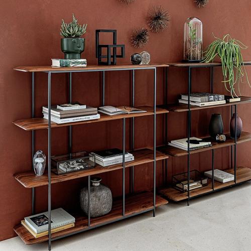 ou trouver bibliotheque vintage mid century étagère bois sombre  structure métal