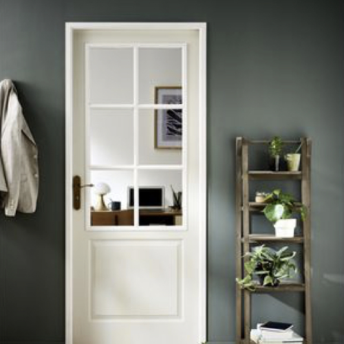 ou trouver porte vitree interieure pas cher classique en bois peint en blanc petit carreau battante